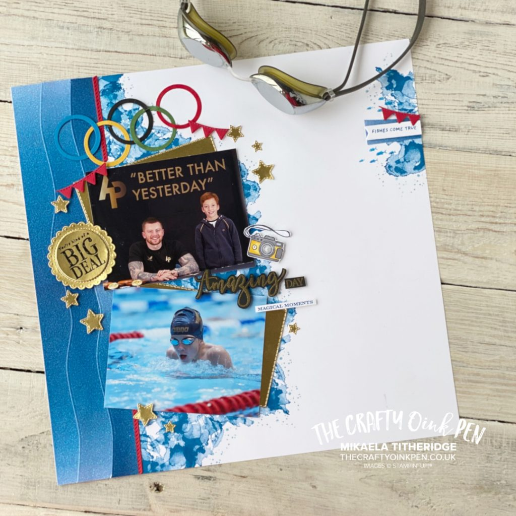Scrapbook Page showing Adam Peaty and our son at a Swim Race Camp