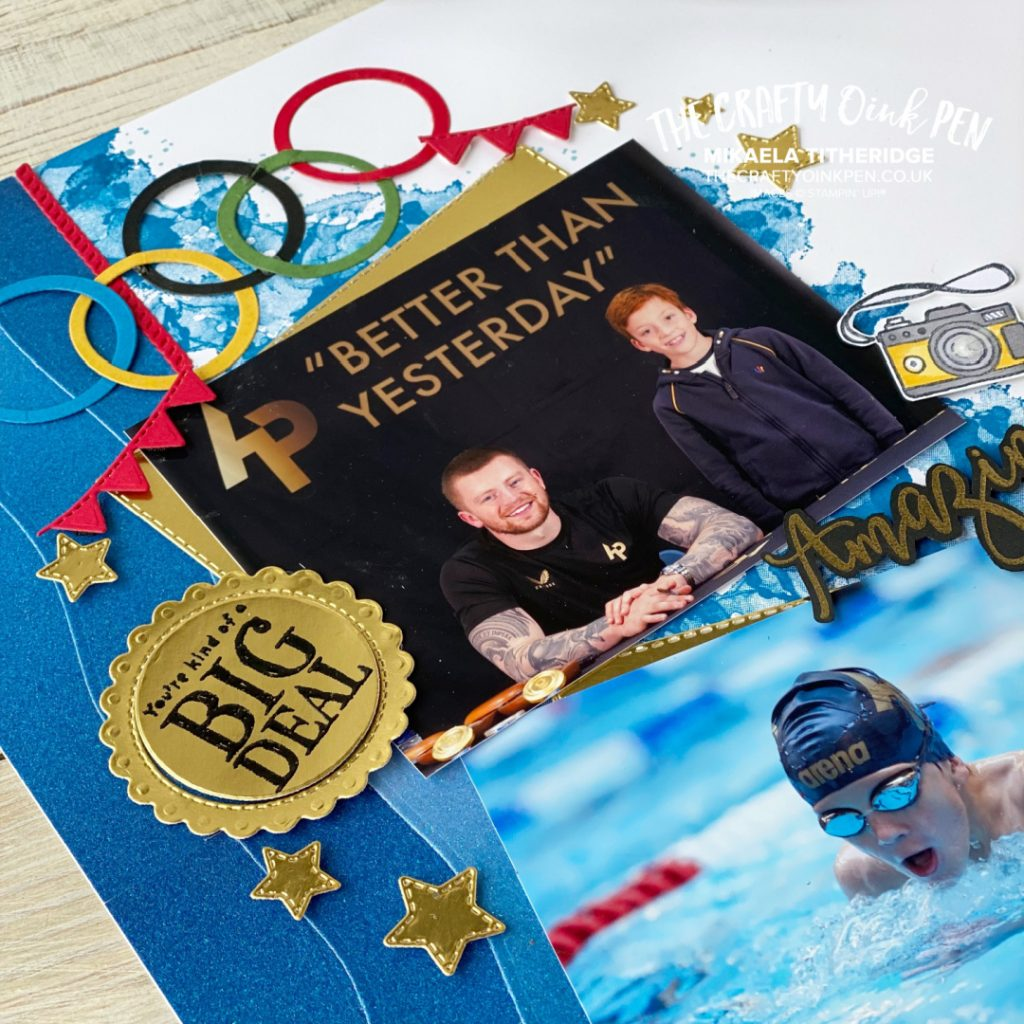 Team GBs Olympic Swimmer Adam Peaty with our son in a Scrapbook Page using Stampin' Up! Products