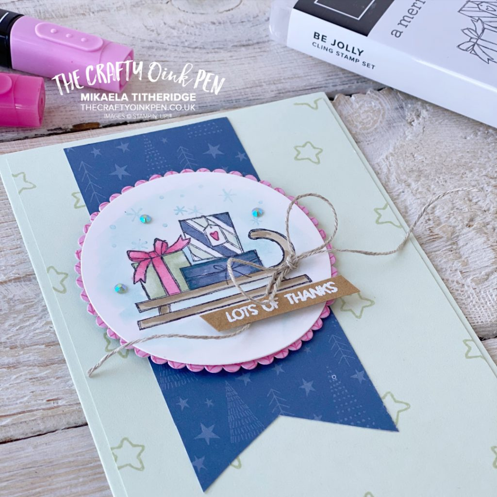 Be Jolly Notes of Thanks handmade card by The Crafty Oink Pen