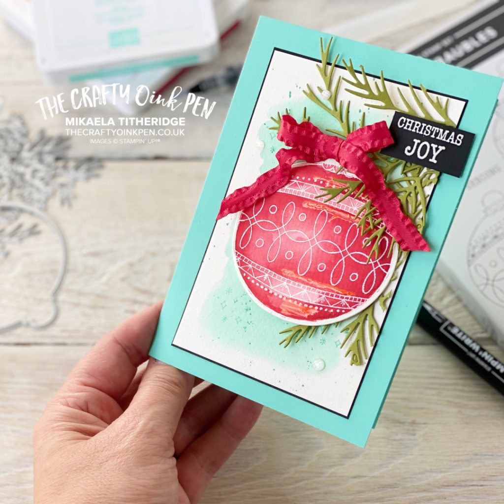Fancy Friday Colour Challenge Christmas card using Bright Baubles
