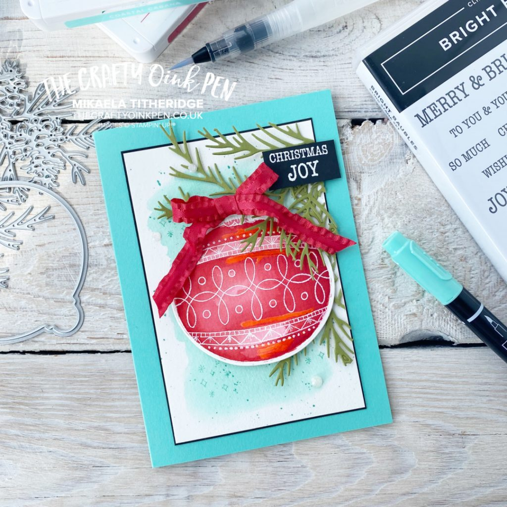 Bright Baubles Christmas Card for the Fancy Friday Colour Challenge by The Crafty oINK Pen