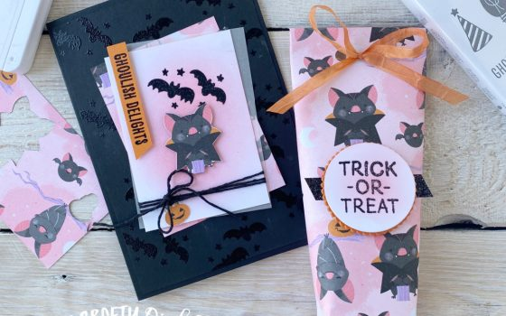 Ghouls Night out card and treat holder using cute Halloween