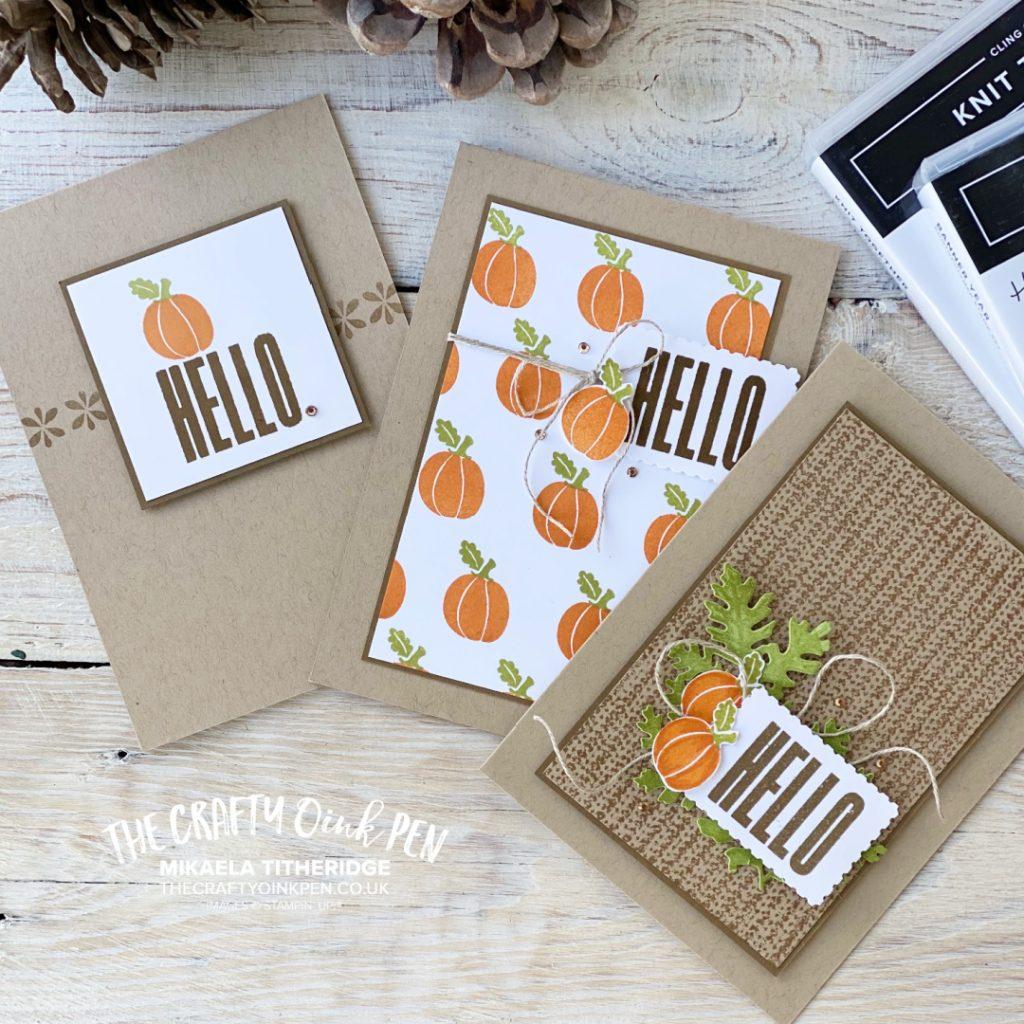 As the season turns Card Set. Hello cards with Pumpkins by Mikaela Titheridge