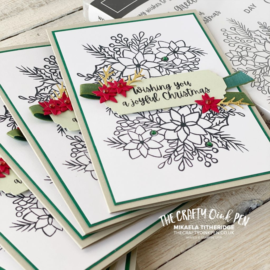 Batch making of Christmas cards, 10 in 30 mins using Words of Cheer