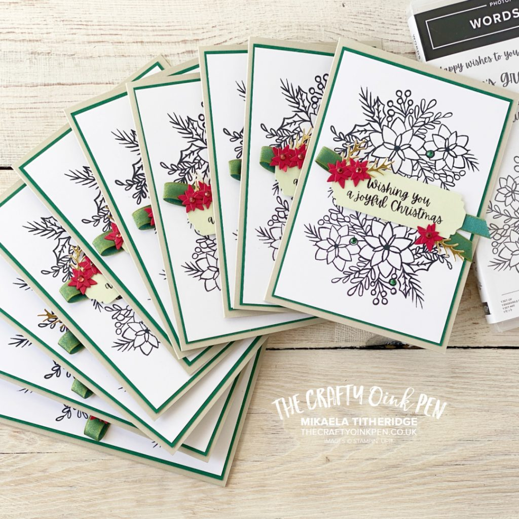 10 cards in 30 mins made using the Stamparatus and Words of Cheer Bundle by Stampin' Up!