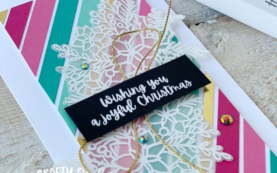 Pink Striped non traditional Christmas card using Words of Cheer by Mikaela Titheridge